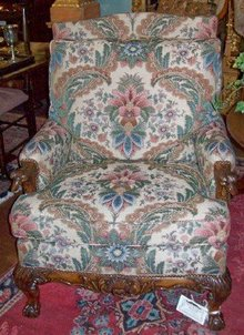 ENGLISH CHIPPENDALE CARVED LIBRARY ARMCHAIR