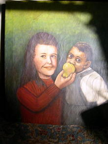 O/C Two Children Folk Art