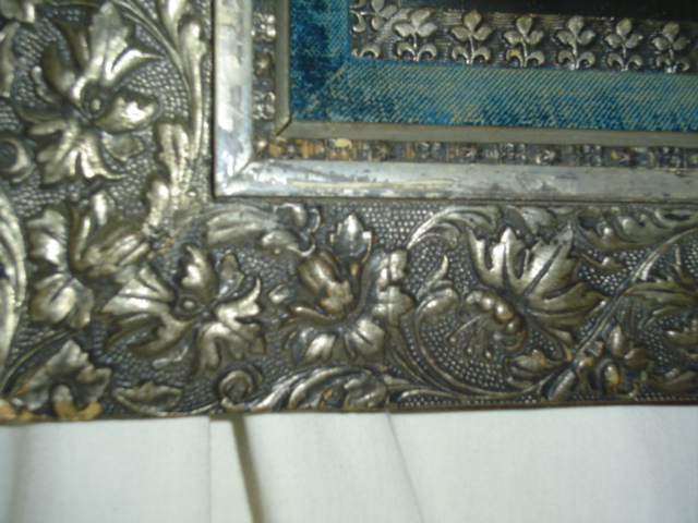 Hammered Metal floral frame mirror