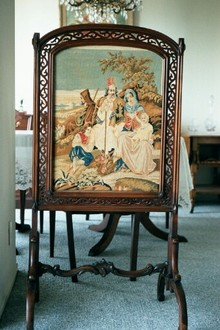 Rosewood Fire Screen with Gorgeous Needlepoint