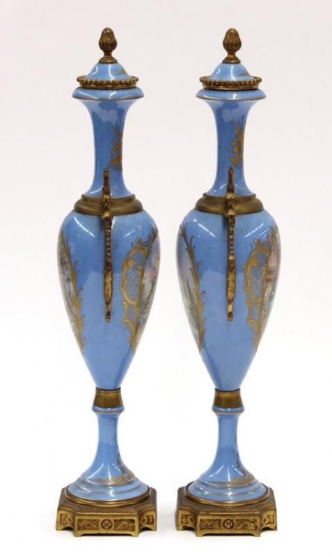 Pair of French ormolu mounted porcelain