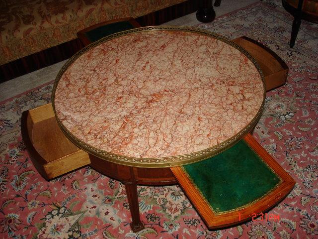 Louis XVI Style Round Marble Top Mahogany