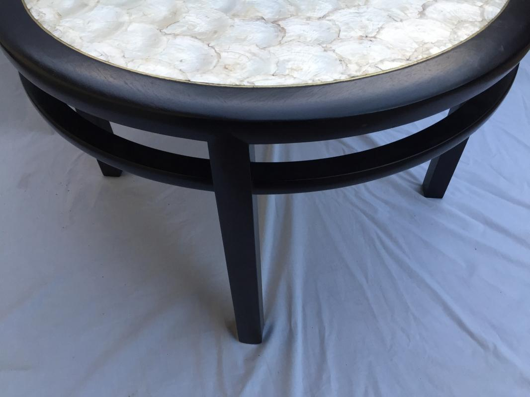 Mahogany side table with Capiz shell top