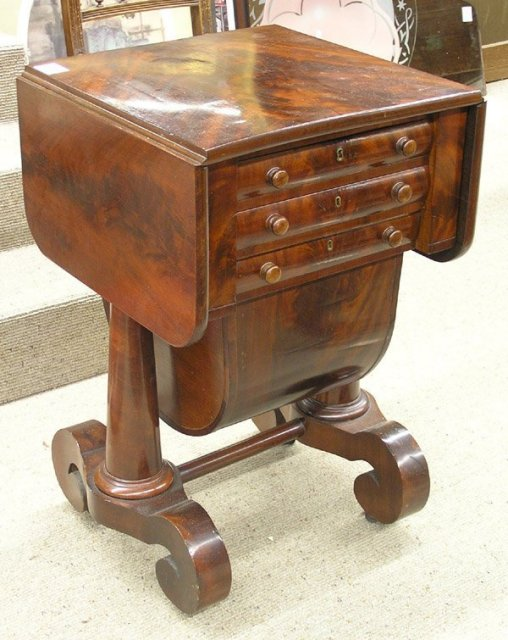 American Empire drop-leaf flame mahogany sewing table