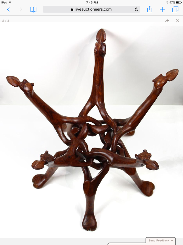 Mid Century occasional carved table