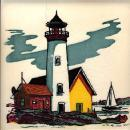 American Art Tile Wheeling Lighthouse