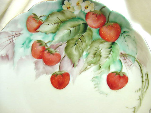 Hand painted Strawberries Plate