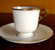 OTT & BREWER Belleek Cup & Saucer  - ANTIQUE -
