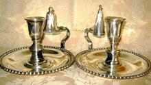 Sheffield Silver Chamber Candlesticks -PAIR- Antique