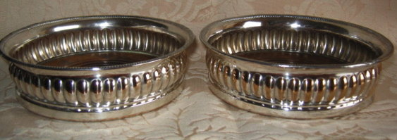 SHEFFIELD Silver WINE Coasters - Pair - ANTIQUE