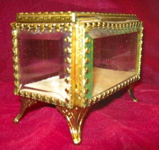 JEWELRY Cask BEVELED Glass Brass Frame