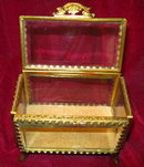 JEWELRY Cask BEVELED Glass Brass Frame