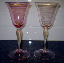 VENETIAN Murano WINE Stems (2) Pink and Gold