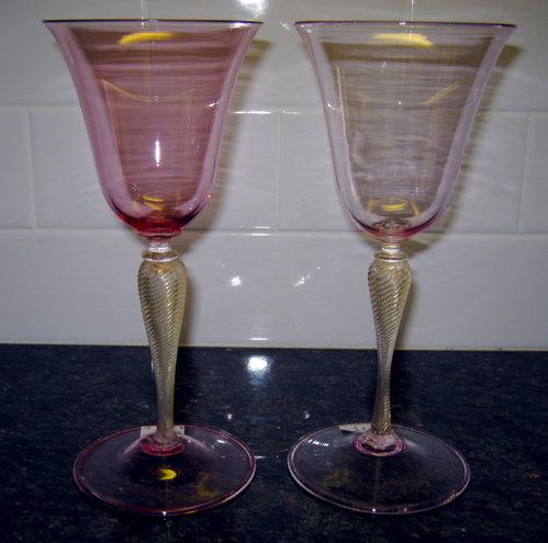 VENETIAN Murano WINE Stems (2) Pink and Gold