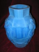 - CZECH Art Glass - SCHLEVOGT Ingrid DECO Vase LAPIS Marble Glass CZECH