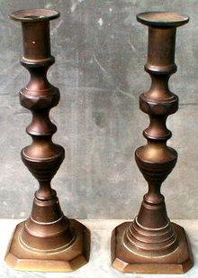 Brass Candlesticks, American 9 3/4 inch