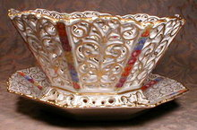 SCHUMANN Pierced BOWL & Plate ANTIQUE 2 pc Set-
