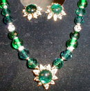 DeMARIO Necklace Earring SET VINTAGE Green
