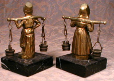 Bronze DUTCH Figures BELGIUM Antique - PAIR -