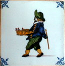 DUTCH Faience TILE Flower VENDOR - ANTIQUE