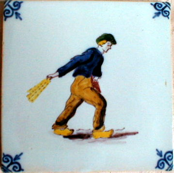 DUTCH Faience TILE Farmer - ANTIQUE