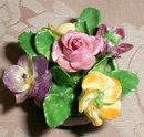 COALPORT Flower BOWL H.P.- Miniature PORCELAIN-
