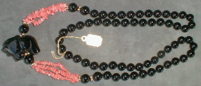 ONYX Elephant Coral NECKLACE - 30 Inch LONG