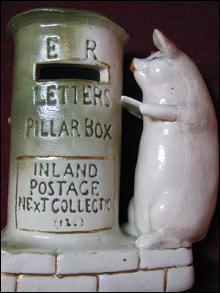 GERMAN Pink PIG - Mailing a Letter - SPILL Vase FAIRING Whimsy