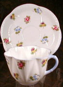 SHELLEY Rose PANSY Forget-ME-Not - CUP Saucer -