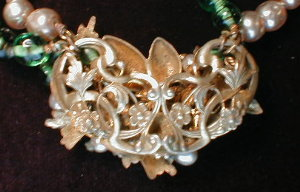 Miriam Haskell Style Necklace  Green Bead