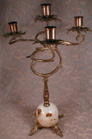 CANDELABRAS Pair ANTIQUE Alabaster BASE Unique-