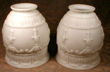 SATIN Glass SHADES Victorian PAIR - Antique -