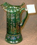 FENTON Carnival PITCHER - Blue GREEN Opalescent