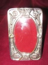STERLING Silver OVAL Frame - Floral Repousse -