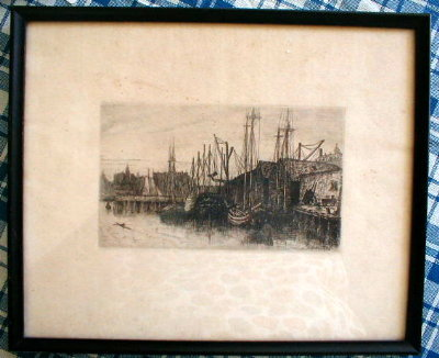 Hodgdon BOSTON Harbor SCENE -Antique-