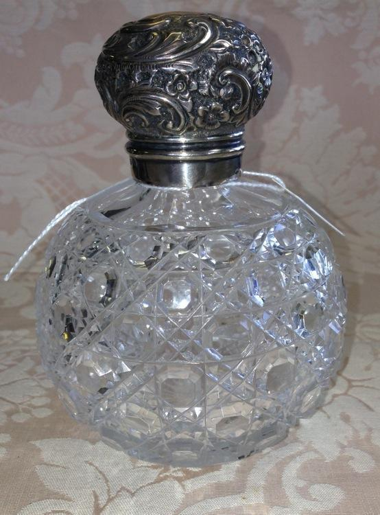 Beaux Arts Crystal PERFUME Bottle SILVER Top ANTIQUE-