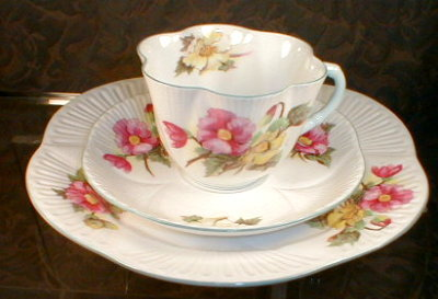 Shelley BEGONIA Trio DAINTY - Cup Saucer PLATE-