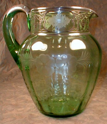 SILVER Overlay PITCHER Etched Glass -ANTIQUE-