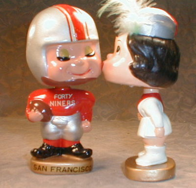 Kissing Bobble Heads Forty Niners, MIB Vintage