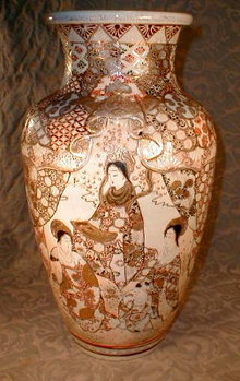 SATSUMA Vase AWATI Kyoto -LARGE- Antique -