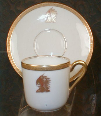 LIMOGES Indian HEAD Demi Cup +Saucer - HAVILAND-