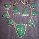 MEXICAN Sterling JADEITE  -Necklace & Earrings-
