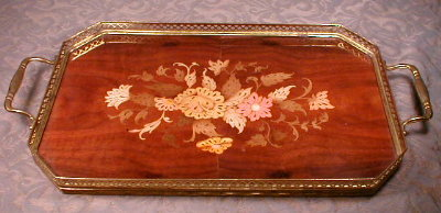 Italian MARQUETRY Tray Inlaid Wood SORRENTO -