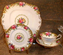 PARAGON Tapestry ROSE Trio + Square PLATE -