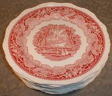 MASONS Vista DINNER Plates (6) Pink -VINTAGE-