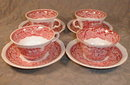 MASONS Vista CUPS/Saucers PINK Transferware (4)