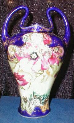 NIPPON Cobalt NOUVEAU Vase MORIAGE -2 Handles-
