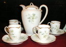 HAVILAND Limoges CHOCoLATE Set-Pot+CUPS+Saucers