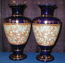 DOULTON Tapestry VASES - Pair COBALT - Antique -