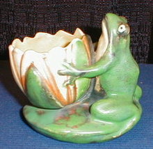 WELLER CopperTONE Frog LOTUS Vase -ANTIQUE-